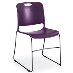 Metro Customer Chair, Grape Poly Shell/Chrome Frame